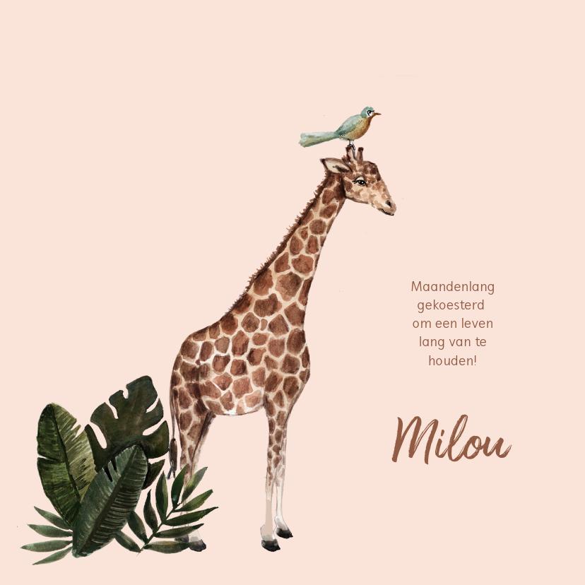 Geboortekaartjes - Zalmroze geboortekaartje met een giraffe en bladeren