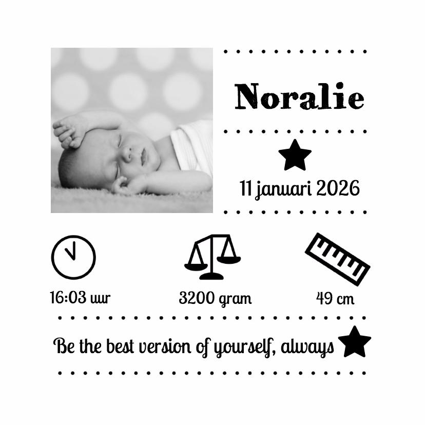 Geboortekaartjes - Zwart wit geboorte Noralie - DH