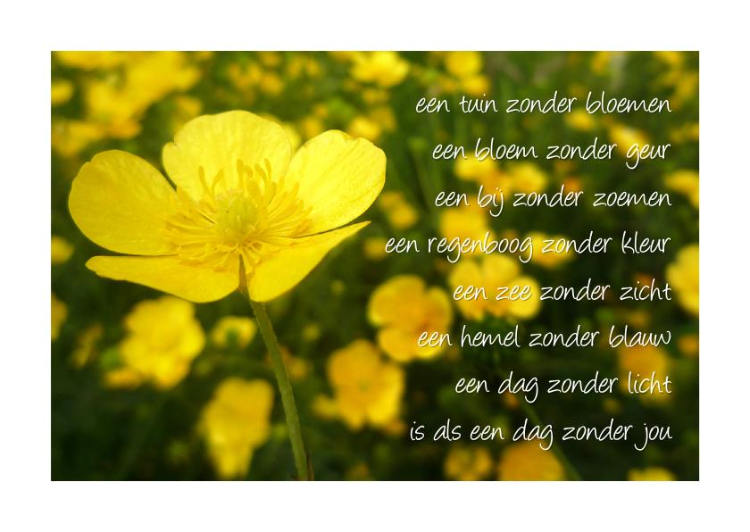 Gedichtenkaarten - Gedicht boterbloem - dag zonder jou