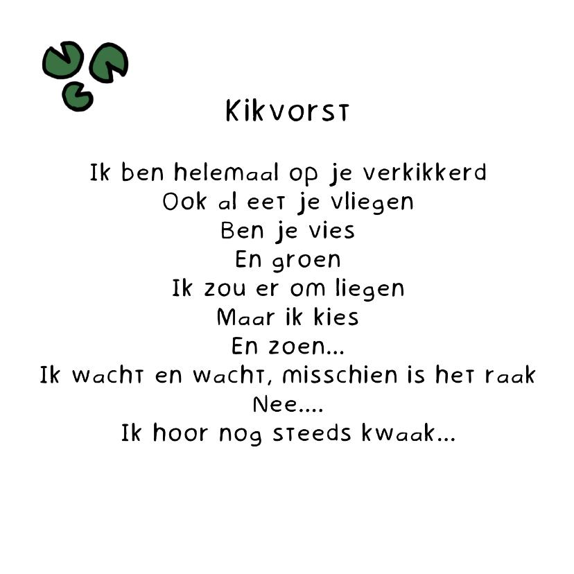 Gedichtenkaarten - Gedichtenkaart Kikvorst - Gedicht