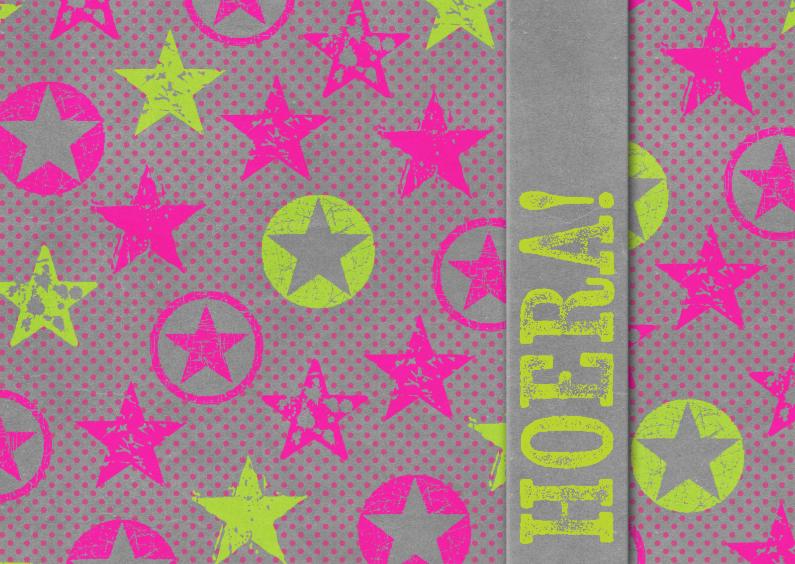 Geslaagd kaarten - 15296 Hoera! neon sterren