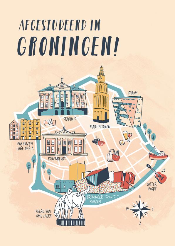 Geslaagd kaarten - Afgestudeerd in Groningen plattegrond