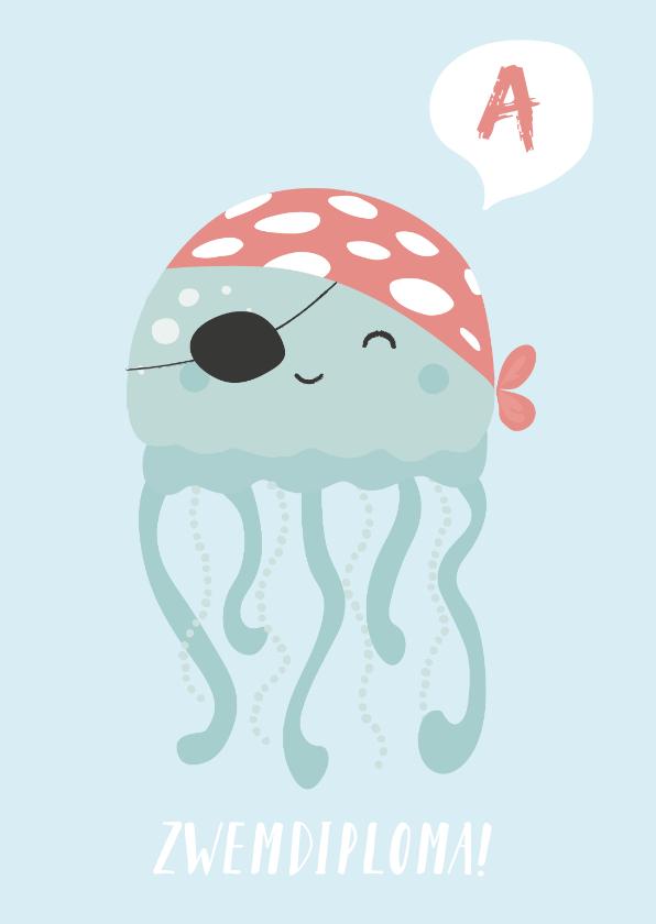 Geslaagd kaarten - Blauwe kaart met octopus gefeliciteerd met je zwemdiploma