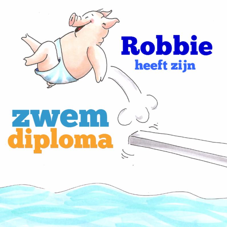 Geslaagd kaarten - Diploma zwemmen jongen
