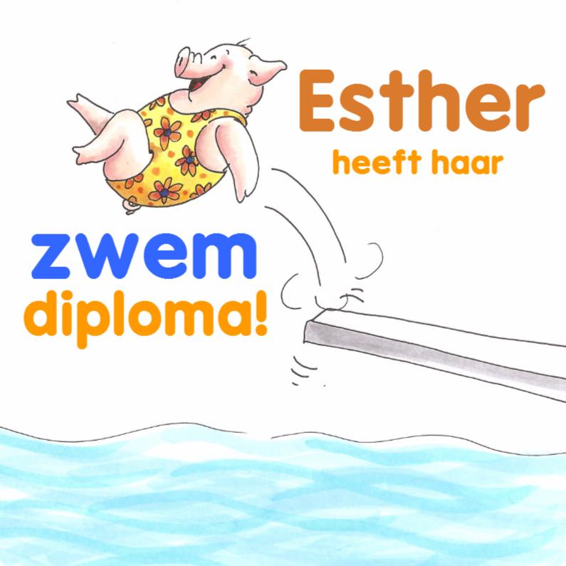 Geslaagd kaarten - Diploma zwemmen meisje