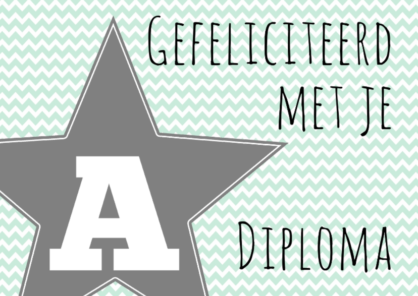 Geslaagd kaarten - Felicitatie A-diploma Ster - WW