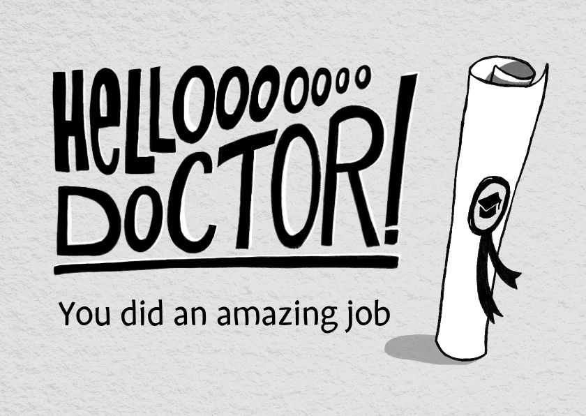 Geslaagd kaarten - Felicitatie kaart voor een doctoraat met handlettering