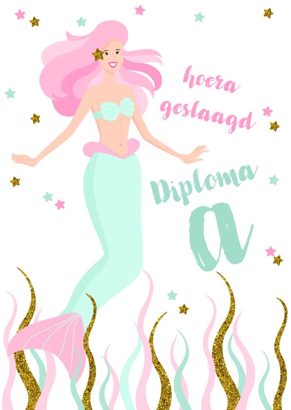 Geslaagd kaarten - Felicitatie zwemdiploma zeemeermin meisje