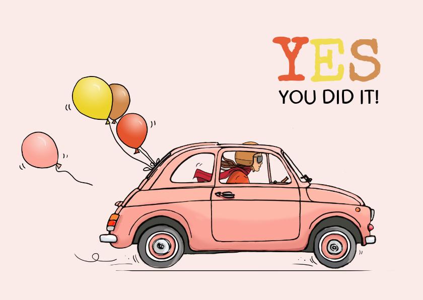 Geslaagd kaarten - Felicitatiekaart geslaagd Fiat 500 roze