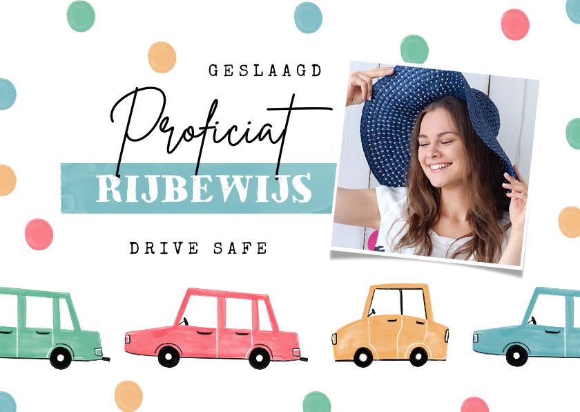 Geslaagd kaarten - Felicitatiekaart geslaagd rijbewijs confetti auto foto