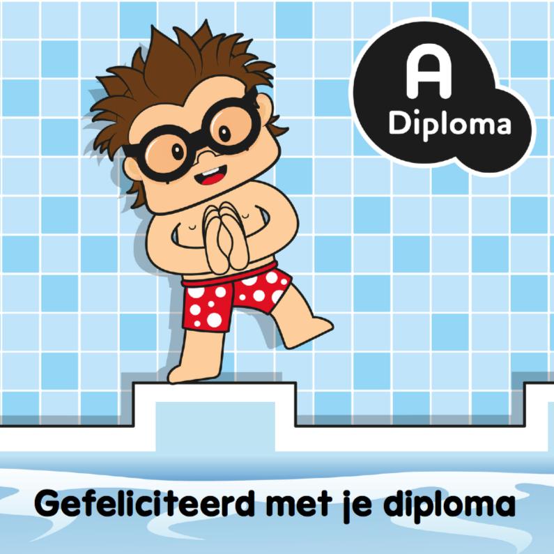Geslaagd kaarten - Felicitatiekaart jongen zwemdiploma 1