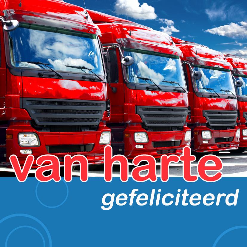 Geslaagd kaarten - Felicitatiekaart met vrachtwagens