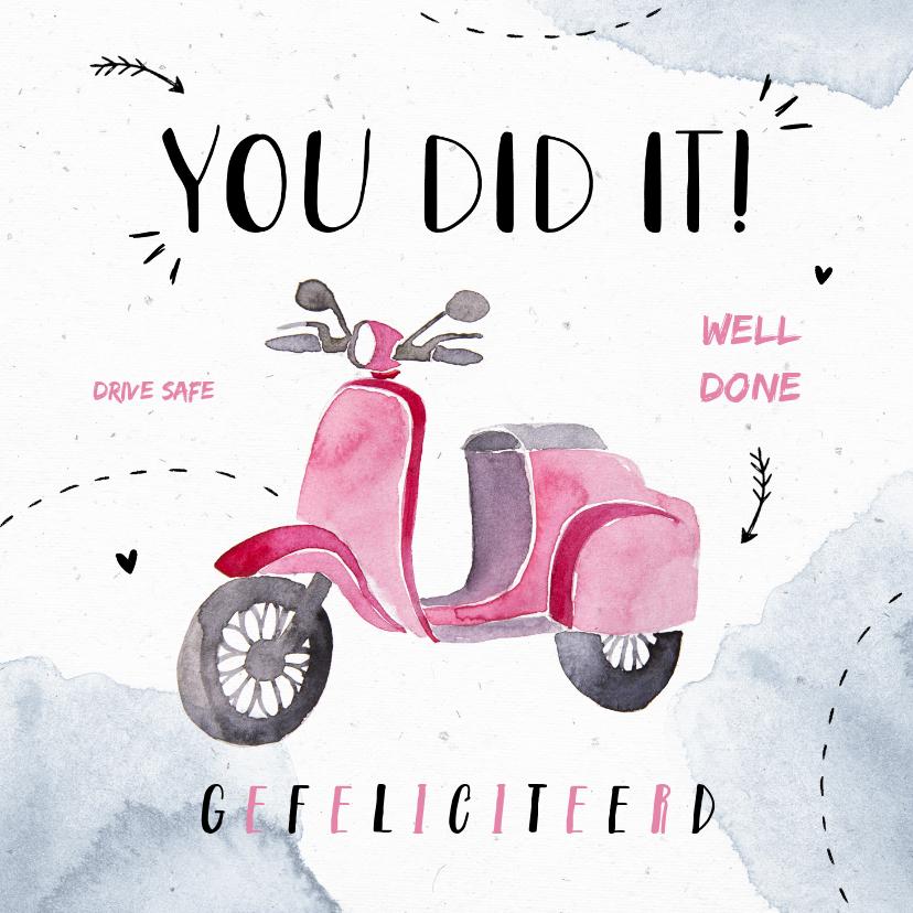 Geslaagd kaarten - Felicitatiekaart scooter bromfiets meisje waterverf doodle