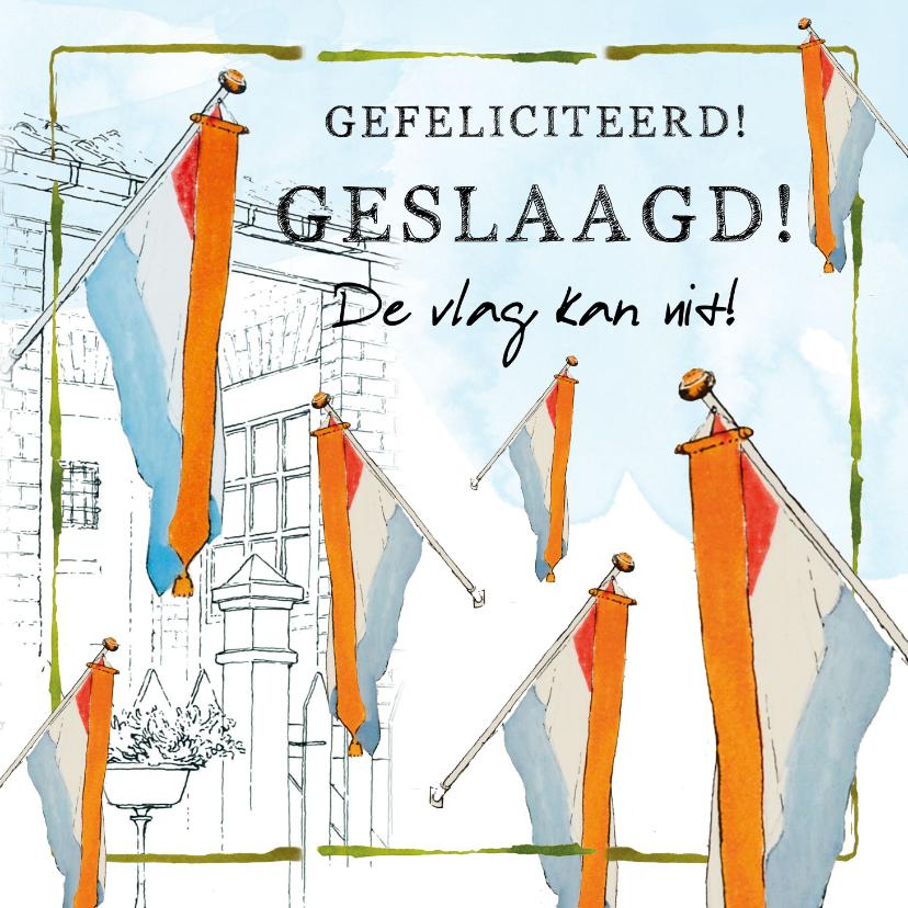 Geslaagd kaarten - Gefeliciteerd geslaagd de vlag kan uit!
