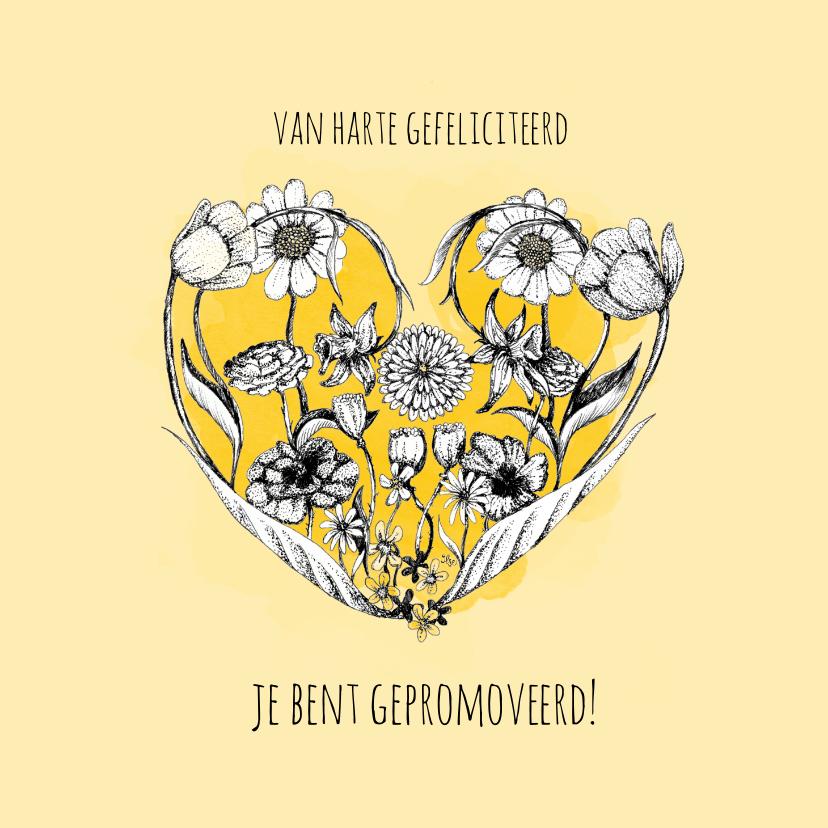 Geslaagd kaarten - Gefeliciteerd met deze pracht prestatie - Bloemen kaart