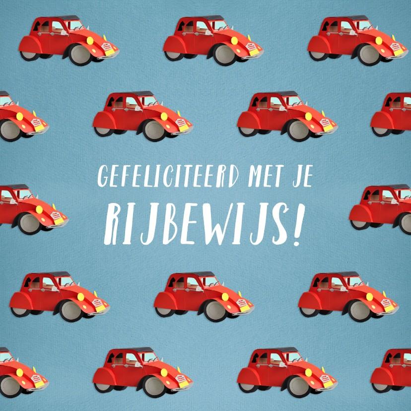 Geslaagd kaarten - Gefeliciteerd met je rijbewijs rode eend