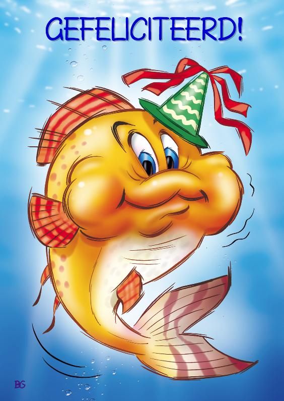 Geslaagd kaarten - Gefeliciteerd oranje vis met feesthoed