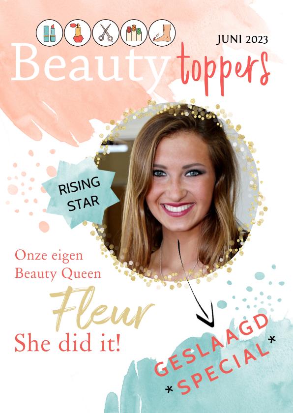 Geslaagd kaarten - Geslaagd Cover beauty opleiding