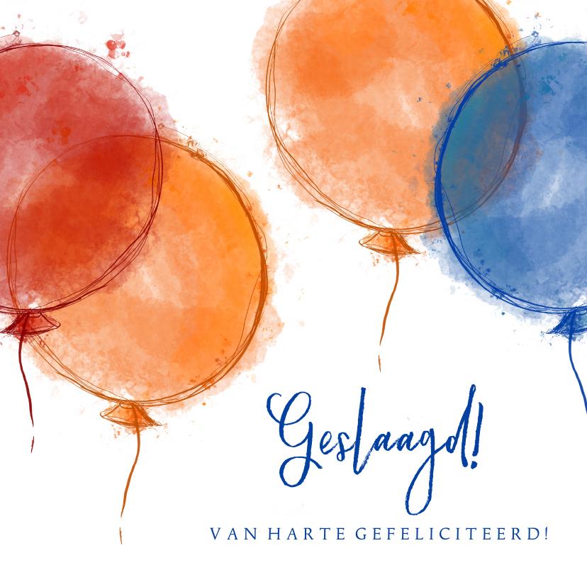 Geslaagd kaarten - Geslaagd! Felicitatie rood oranje blauwe ballonnen