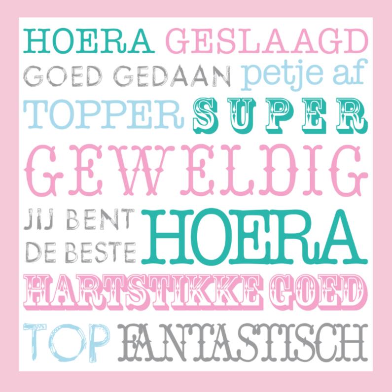 Geslaagd kaarten - Geslaagd Happy Text Roze