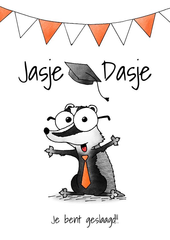 Geslaagd kaarten - Geslaagd kaart das - Jasje Dasje Je bent geslaagd!