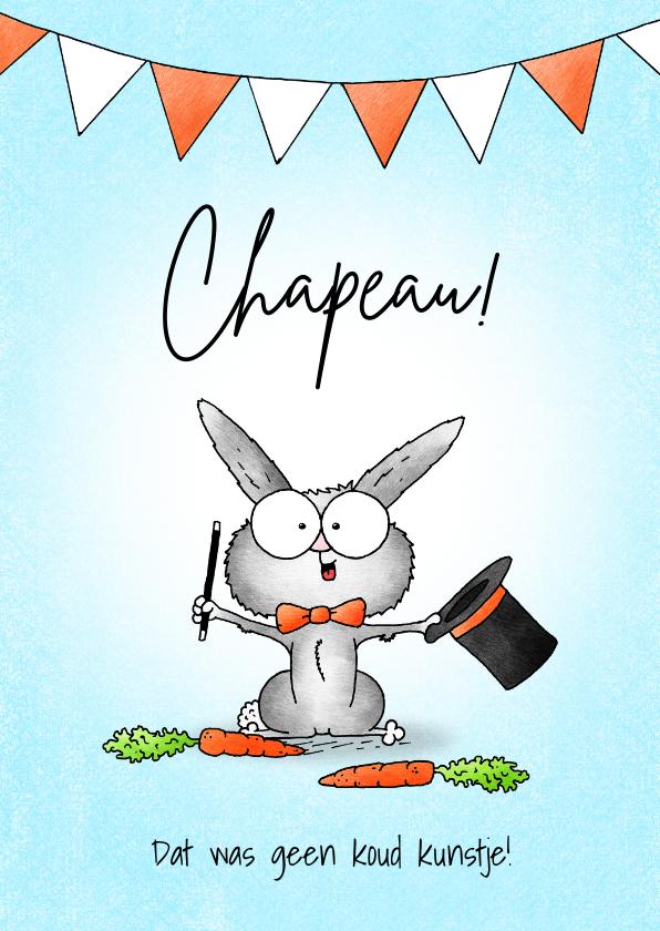 Geslaagd kaarten - Geslaagd kaart lief goochelaar konijntje met hoed - Chapeau!