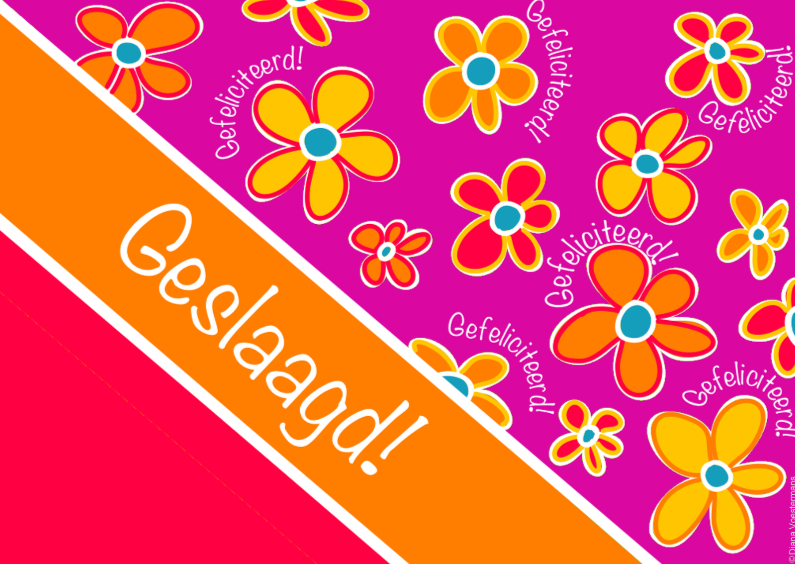 Geslaagd kaarten - Geslaagd kleurige bloemetjes