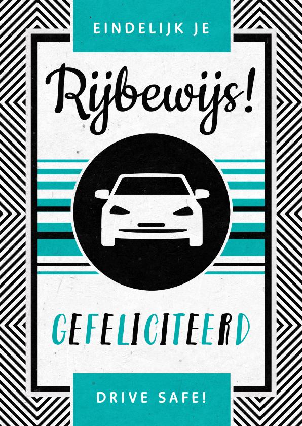 Geslaagd kaarten - Geslaagd rijbewijs felicitatie auto stoer