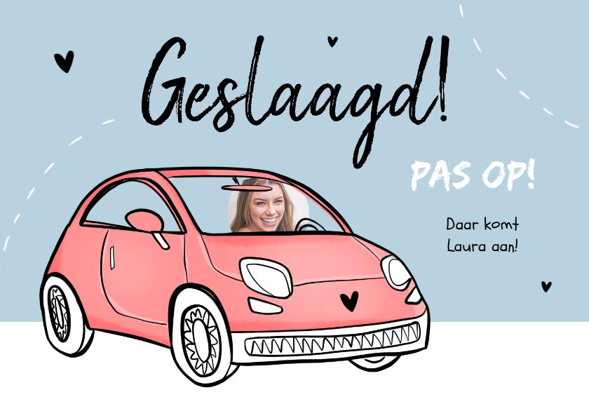 Geslaagd kaarten - Geslaagd rijbewijs felicitatie roze humor foto