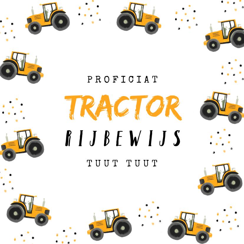 Geslaagd kaarten - Geslaagd rijbewijs tractor confetti okergeel