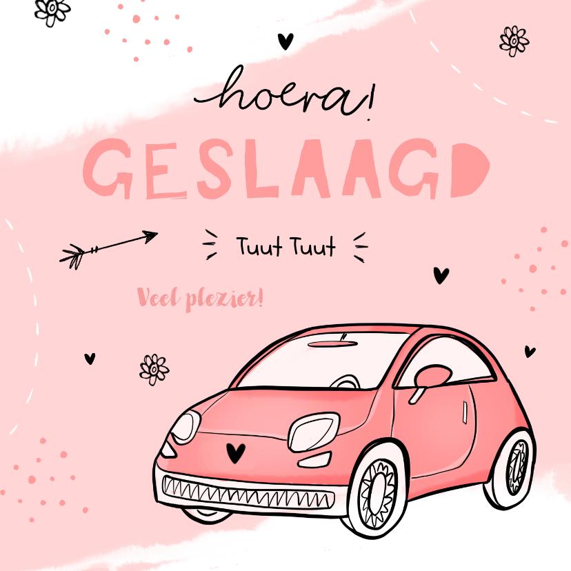 Geslaagd kaarten - Geslaagd rijbewijs vrouw auto waterverf doodle