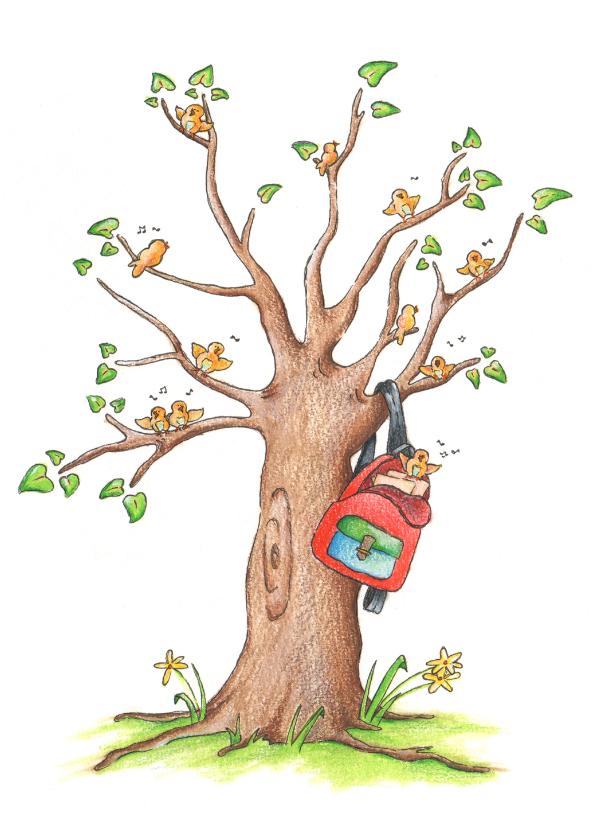 Geslaagd kaarten - Geslaagd schooltas in boom