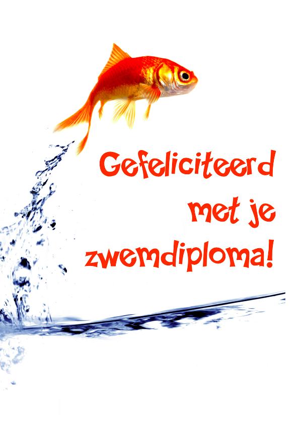 Geslaagd kaarten - Geslaagd voor je zwemdiploma vis