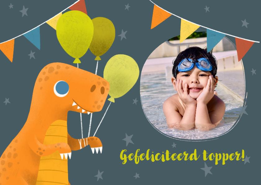 Geslaagd kaarten - Geslaagd zwemdiploma  met dinosaurus