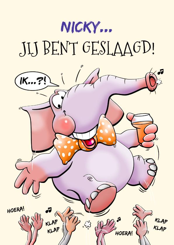 Geslaagd kaarten - Geslaagde olifant met limonade en klappende handen