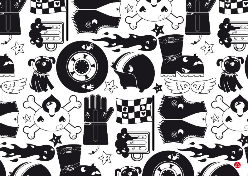 Geslaagd kaarten - Happy motorcycle
