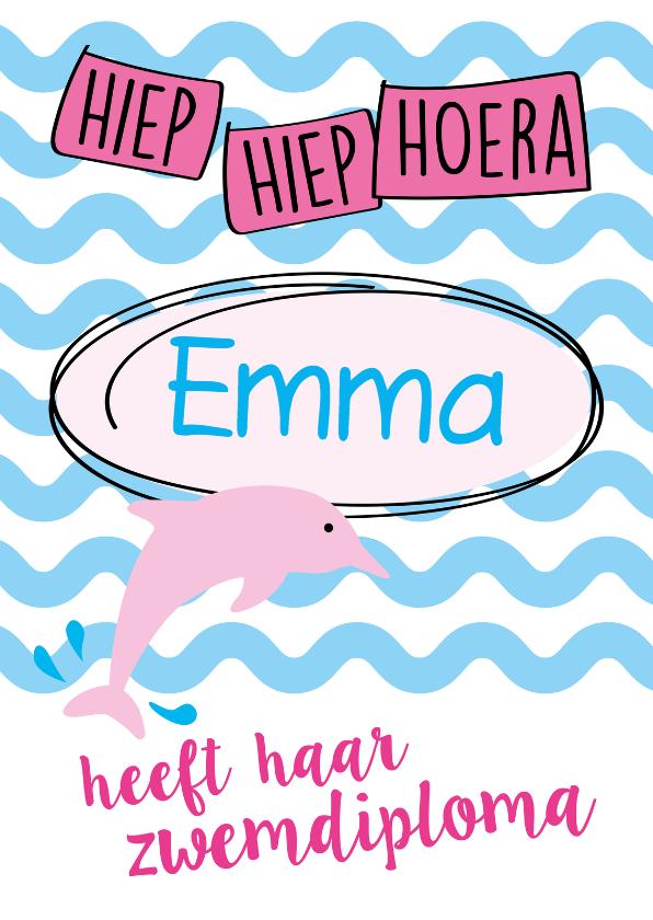 Geslaagd kaarten - Hoera dolfijn naam aanpasbaar