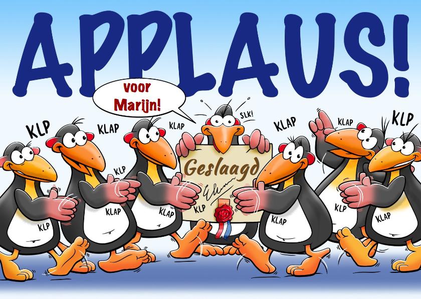 Geslaagd kaarten - Leuke geslaagd kaart met pinguïns en applaus