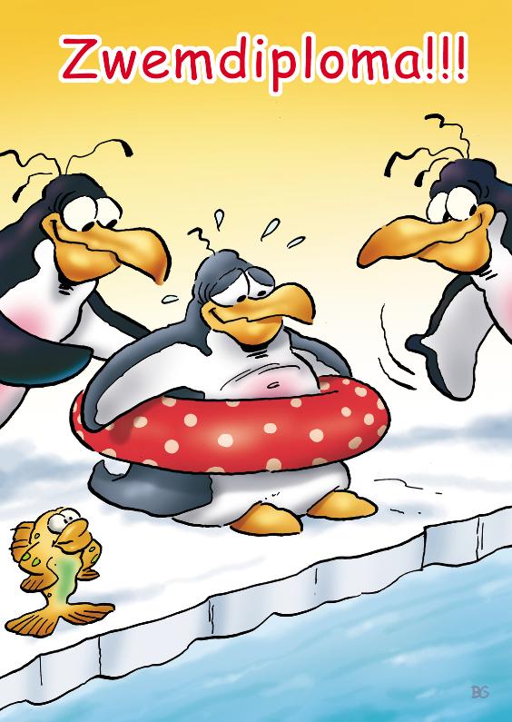 Geslaagd kaarten - penguins zwemdiploma 1zwemband