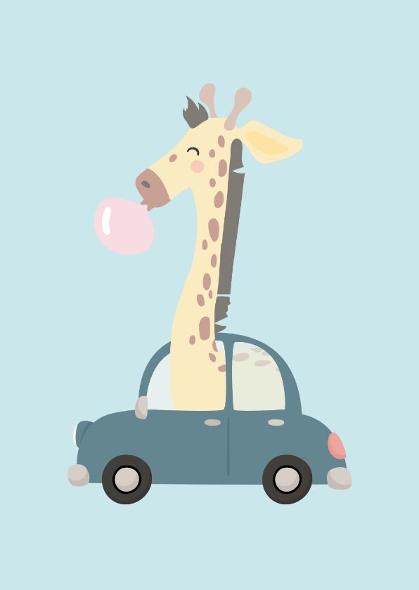 Geslaagd kaarten - Rijbewijs felicitatiekaart met getekende giraf in de auto