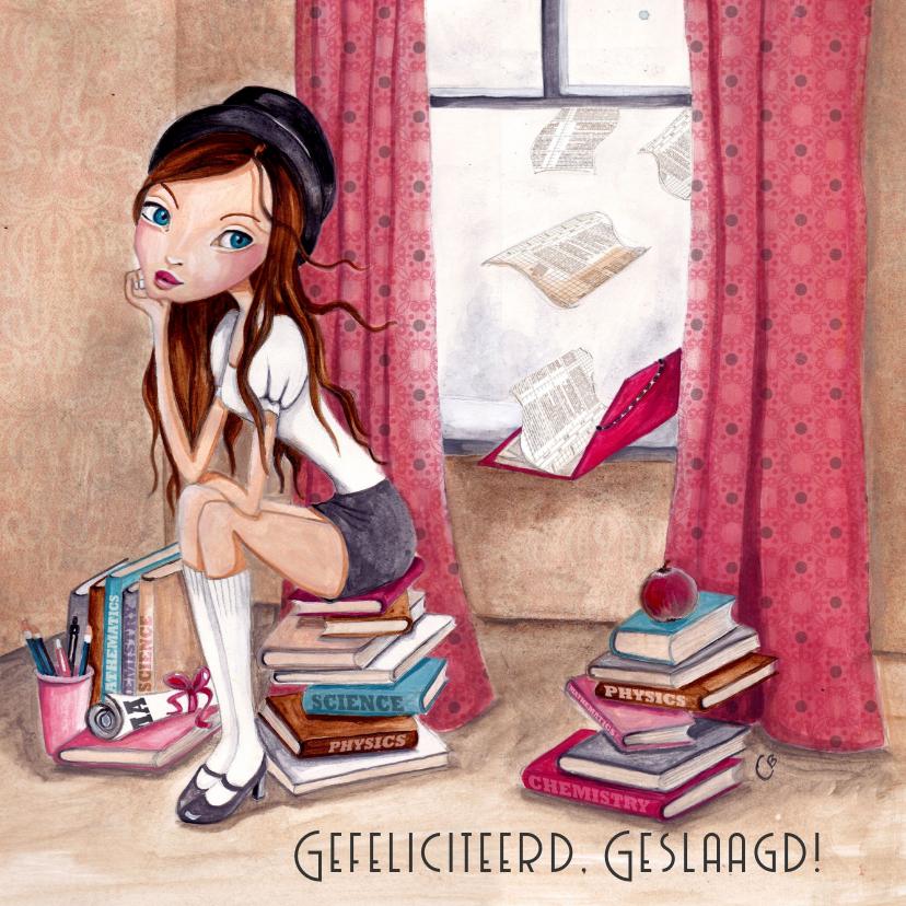 Geslaagd kaarten - School Meisje Boeken DIPLOMA Illustratie