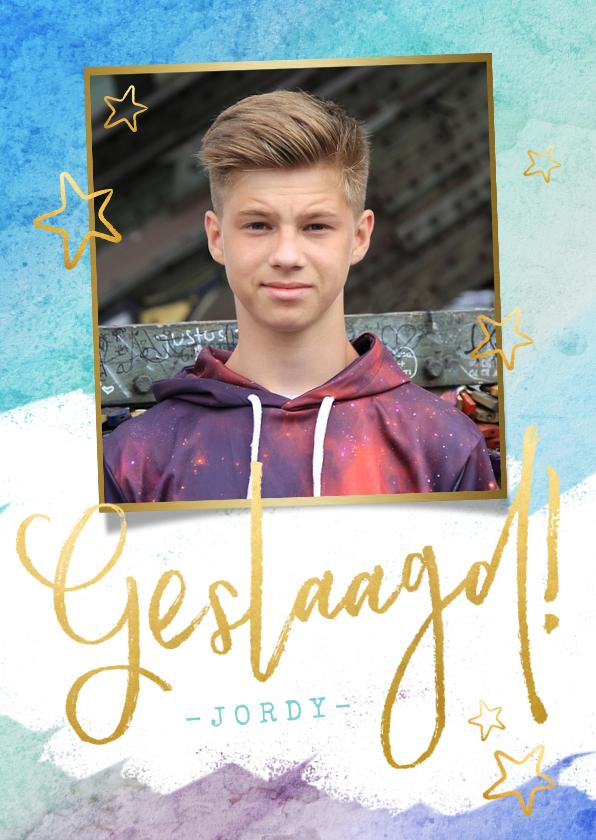 Geslaagd kaarten - Stoere felicitatiekaart voor een jongen met verflook en goud