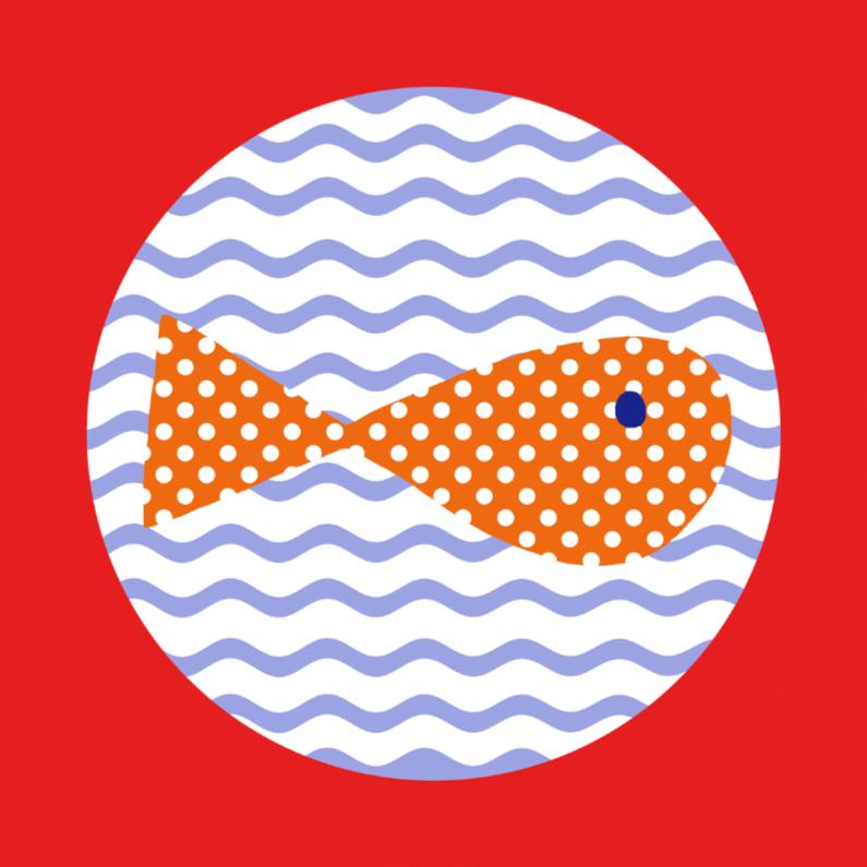 Geslaagd kaarten - Visje zwemt door het gat