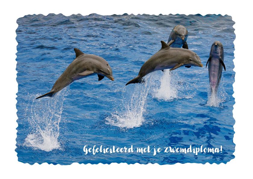 Geslaagd kaarten - Zwemdiploma 2  Dolfijn kader aanpasbaar