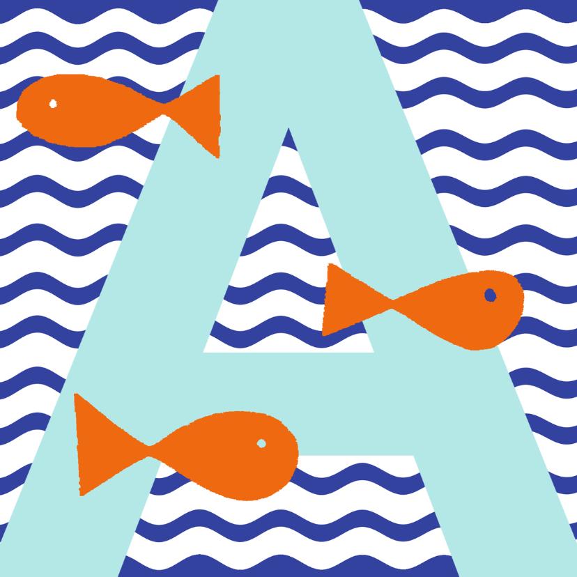 Geslaagd kaarten - Zwemdiploma A met  vissen