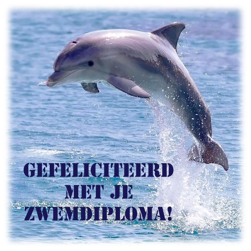 Geslaagd kaarten - Zwemdiploma met dolfijn