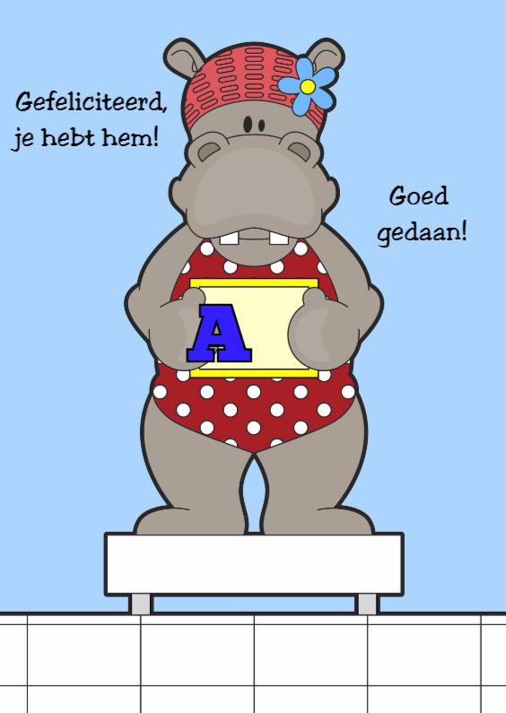 Geslaagd kaarten - Zwemdiploma Nijlpaard by Heppie