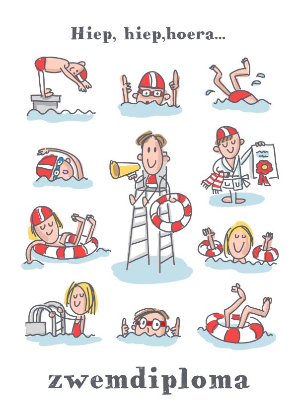 Geslaagd kaarten - Zwemdiplomakaart met 11 figuurtjes in het zwembad