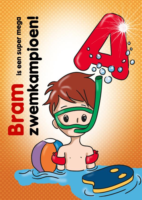Geslaagd kaarten - zwemkampioen A jongen