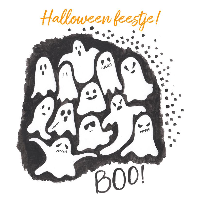 Halloween kaarten - Halloween feestje spoken